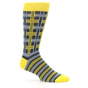Image of Yellow Grey Plaid Men's Dress Socks (side-1-25)