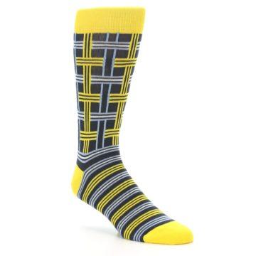 Image of Yellow Grey Plaid Men's Dress Socks (side-1-27)