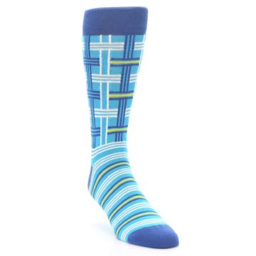 Image of Blues White Plaid Men's Dress Socks (side-1-front-02)