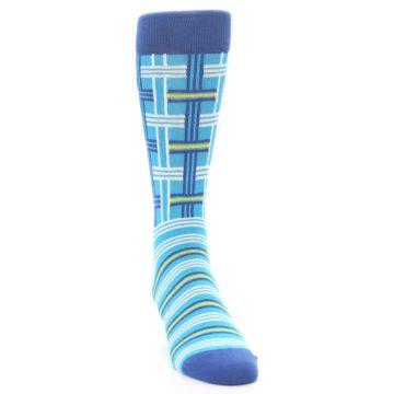 Image of Blues White Plaid Men's Dress Socks (side-1-front-03)