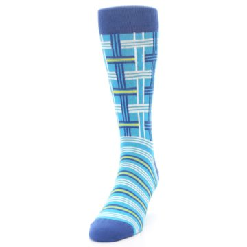 Image of Blues White Plaid Men's Dress Socks (side-2-front-06)