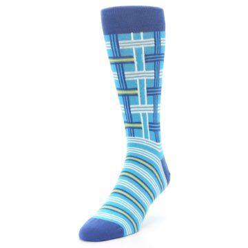 Image of Blues White Plaid Men's Dress Socks (side-2-front-07)