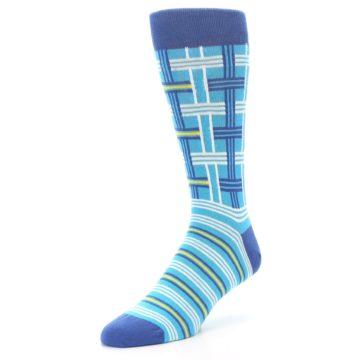 Image of Blues White Plaid Men's Dress Socks (side-2-front-08)