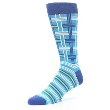 Image of Blues White Plaid Men's Dress Socks (side-2-09)