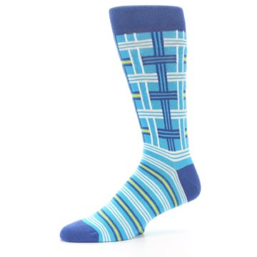 Image of Blues White Plaid Men's Dress Socks (side-2-10)