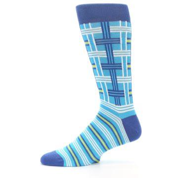 Image of Blues White Plaid Men's Dress Socks (side-2-11)