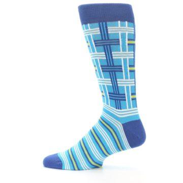 Image of Blues White Plaid Men's Dress Socks (side-2-12)