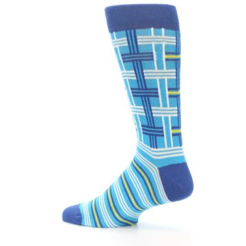 Image of Blues White Plaid Men's Dress Socks (side-2-13)