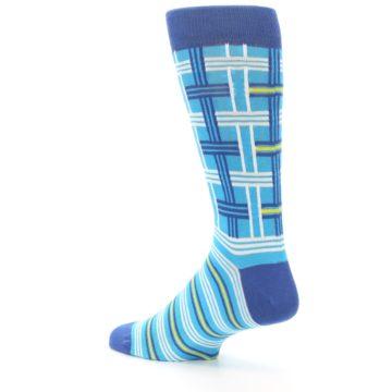 Image of Blues White Plaid Men's Dress Socks (side-2-back-14)