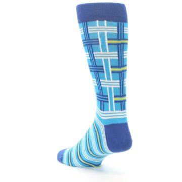 Image of Blues White Plaid Men's Dress Socks (side-2-back-15)