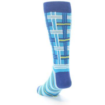 Image of Blues White Plaid Men's Dress Socks (side-2-back-16)