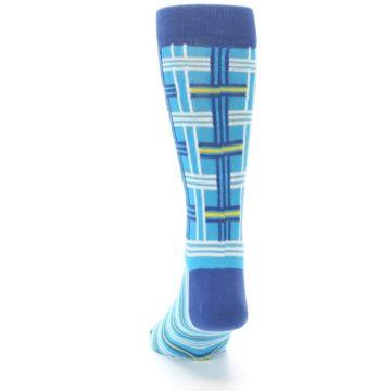 Image of Blues White Plaid Men's Dress Socks (back-17)