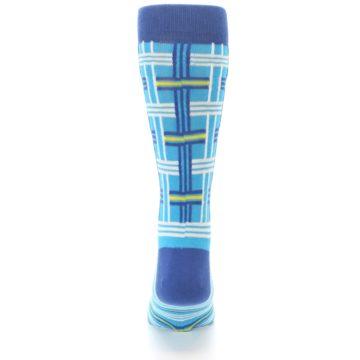 Image of Blues White Plaid Men's Dress Socks (back-18)