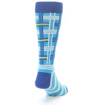 Image of Blues White Plaid Men's Dress Socks (side-1-back-20)