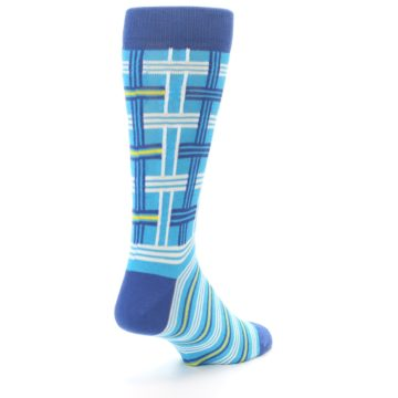 Image of Blues White Plaid Men's Dress Socks (side-1-back-21)