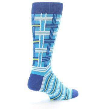 Image of Blues White Plaid Men's Dress Socks (side-1-back-22)