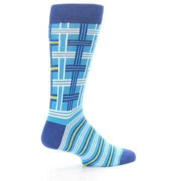 Image of Blues White Plaid Men's Dress Socks (side-1-23)