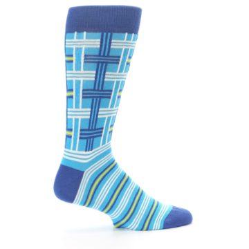 Image of Blues White Plaid Men's Dress Socks (side-1-24)