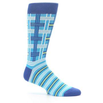 Image of Blues White Plaid Men's Dress Socks (side-1-25)