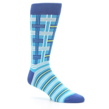 Image of Blues White Plaid Men's Dress Socks (side-1-26)