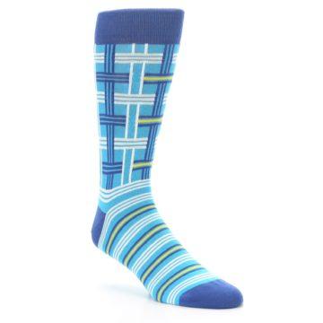 Image of Blues White Plaid Men's Dress Socks (side-1-27)