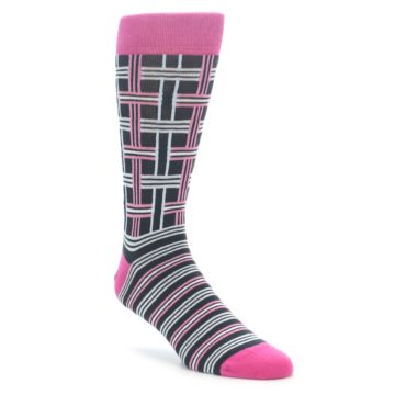 Pink and Grey Plaid Men's Socks by Statement Sockwear