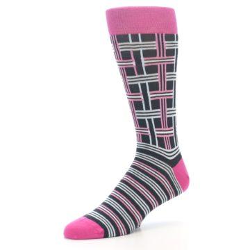 """Image of Pink Plaid """"Minor Color Imperfection"""" Men's Dress Socks (side-2-09)"""