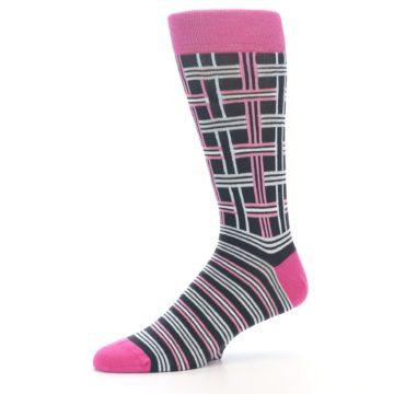 """Image of Pink Plaid """"Minor Color Imperfection"""" Men's Dress Socks (side-2-10)"""
