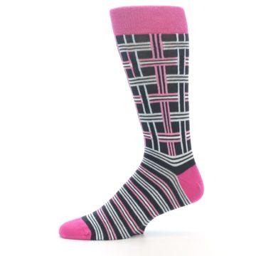 """Image of Pink Plaid """"Minor Color Imperfection"""" Men's Dress Socks (side-2-11)"""