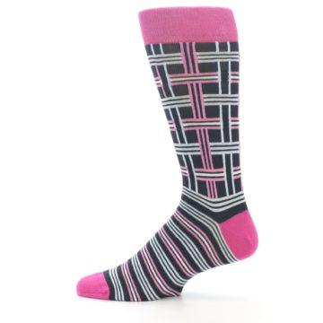 """Image of Pink Plaid """"Minor Color Imperfection"""" Men's Dress Socks (side-2-12)"""