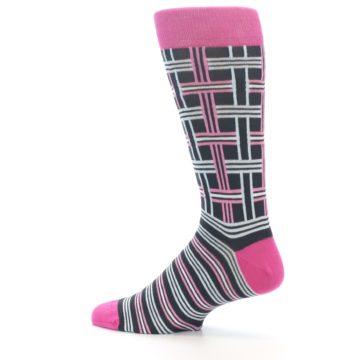 """Image of Pink Plaid """"Minor Color Imperfection"""" Men's Dress Socks (side-2-13)"""