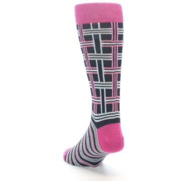 """Image of Pink Plaid """"Minor Color Imperfection"""" Men's Dress Socks (side-2-back-16)"""