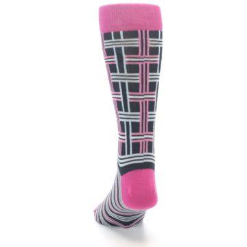 """Image of Pink Plaid """"Minor Color Imperfection"""" Men's Dress Socks (back-17)"""