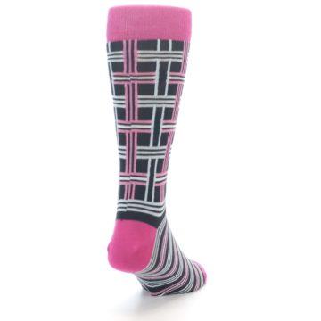 """Image of Pink Plaid """"Minor Color Imperfection"""" Men's Dress Socks (side-1-back-20)"""