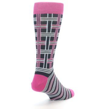 """Image of Pink Plaid """"Minor Color Imperfection"""" Men's Dress Socks (side-1-back-21)"""