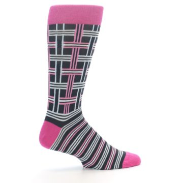 """Image of Pink Plaid """"Minor Color Imperfection"""" Men's Dress Socks (side-1-24)"""