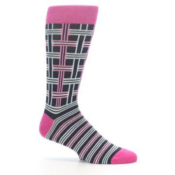 """Image of Pink Plaid """"Minor Color Imperfection"""" Men's Dress Socks (side-1-25)"""