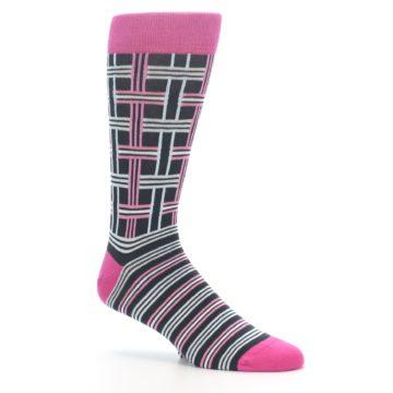 """Image of Pink Plaid """"Minor Color Imperfection"""" Men's Dress Socks (side-1-26)"""