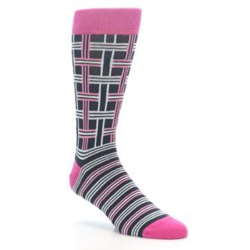 """Image of Pink Plaid """"Minor Color Imperfection"""" Men's Dress Socks (side-1-27)"""