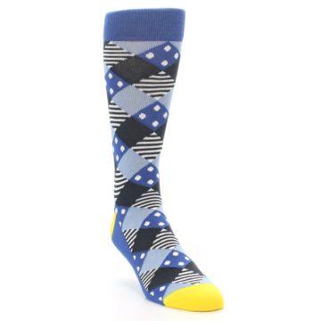 Image of Blue Dark-Grey White Diamond Men's Dress Socks (side-1-front-02)
