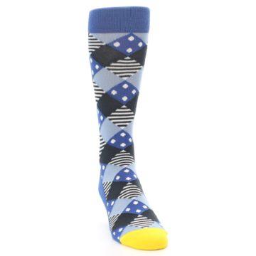 Image of Blue Dark-Grey White Diamond Men's Dress Socks (side-1-front-03)