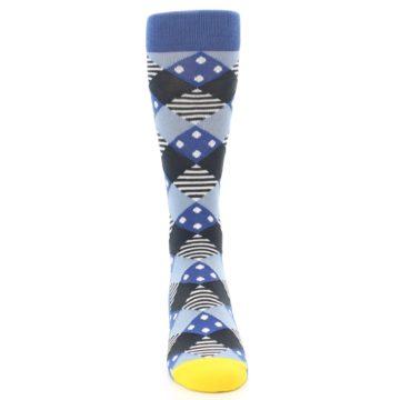 Image of Blue Dark-Grey White Diamond Men's Dress Socks (front-04)