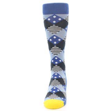 Image of Blue Dark-Grey White Diamond Men's Dress Socks (front-05)