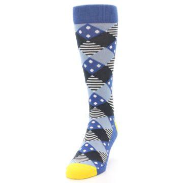 Image of Blue Dark-Grey White Diamond Men's Dress Socks (side-2-front-06)