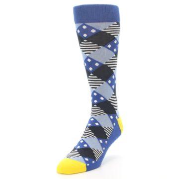 Image of Blue Dark-Grey White Diamond Men's Dress Socks (side-2-front-07)