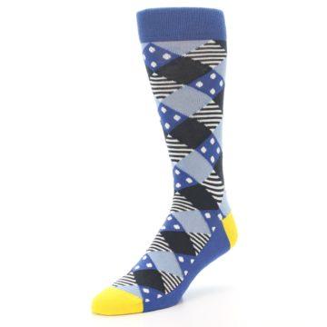 Image of Blue Dark-Grey White Diamond Men's Dress Socks (side-2-front-08)