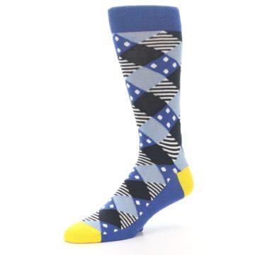 Image of Blue Dark-Grey White Diamond Men's Dress Socks (side-2-09)