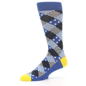 Image of Blue Dark-Grey White Diamond Men's Dress Socks (side-2-10)
