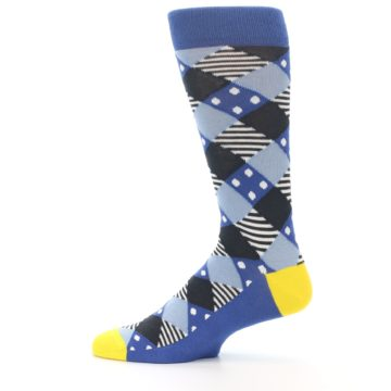 Image of Blue Dark-Grey White Diamond Men's Dress Socks (side-2-12)