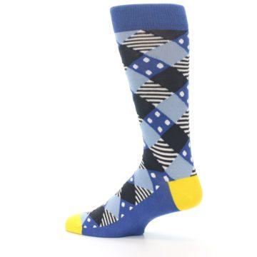 Image of Blue Dark-Grey White Diamond Men's Dress Socks (side-2-13)